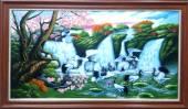 Tranh vẽ sơn dầu hoa đào và hạc tiên - Tùng hạc diên niên AmiA TSD 335