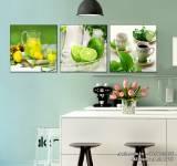 Tranh treo tường phòng ăn giải nhiệt trái chanh tươi xanh AmiA 1480