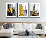 Tranh phong cảnh nước ngoài bộ 3 tấm khung hiện đại AmiA 1488