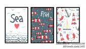 Tranh ghép bộ treo tường phòng trẻ em chủ đề biển cả AmiA 1491