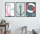 Tranh chủ đề biển cả trang trí phòng khách phòng trẻ em AmiA 1492