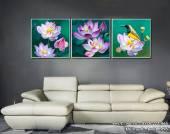 Tranh canvas treo tường hoa sen 3 tấm nghệ thuật AmiA 1496