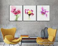Tranh hoa lá canvas nghệ thuật treo tường 3 tấm AmiA 1497