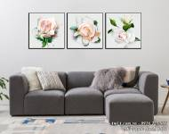 Tranh canvas treo tường nghệ thuật bộ 3 hoa hồng AmiA 1498