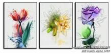 Tranh hoa 3 tấm canvas nghệ thuật treo tường AmiA 1499