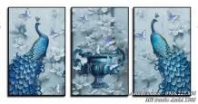 Tranh đôi chim công bình hoa quý tộc treo tường AmiA 1503
