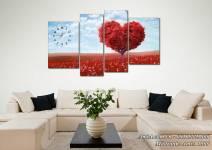 Tranh phong cảnh đồi hoa trái tim AmiA 1506