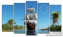 Tranh thuyền buồm ra khơi treo tường ý nghĩa AmiA 1509