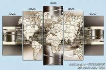 Tranh bản đồ thế giới treo tường nghệ thuật AmiA 1512