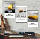 Tranh bộ 3 tấm con thuyền vàng treo tường hiện đại AmiA 1515