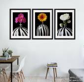 Bộ 3 tranh bình hoa đen trắng nghệ thuật AmiA 1521