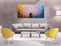 Tranh bình hoa giả sơn dầu treo tường 1 tấm AmiA 1523