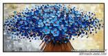Tranh hoa màu xanh in giả sơn dầu AmiA 1524