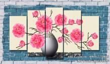 Tranh bình hoa hồng Pháp nghệ thuật thu hút tài lộc AmiA 1527