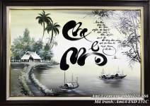 Tranh sơn dầu thư pháp đen trắng AmiA TSD 151C