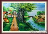 Tranh phong cảnh làng quê nông thôn Việt Nam TSD 185B