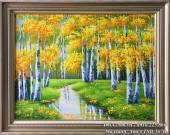Tranh sơn dầu rừng cây lá vàng mùa Thu AmiA TSD 367B