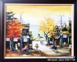 Tranh sơn dầu phố cổ hồ gươm tháp rùa khổ nhỏ TSD 373B
