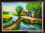 Tranh phong cảnh sơn dầu làng quê khổ nhỏ TSD 382B