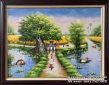 Tranh sơn dầu làng quê Việt Nam khổ nhỏ TSD 388B