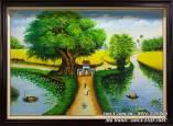Tranh phong cảnh sơn dầu làng quê khổ nhỏ TSD 388C