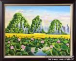 Tranh sơn dầu phong cảnh đầm hoa sen TSD 407
