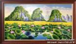 Tranh phong cảnh đầm sen vẽ sơn dầu khổ lớn TSD 407B