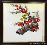 Tranh sơn dầu đôi chim cành đào phát lộc TSD 408