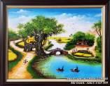 Tranh phong cảnh sơn dầu cổng làng quê em khổ nhỏ TSD 409