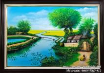 Tranh phong cảnh sơn dầu nhà nhỏ bên bờ sông quê TSD 412