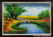 Tranh sơn dầu phong cảnh quê hương yên bình khổ nhỏ TSD 413