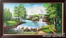 Tranh sơn dầu phong cảnh rừng cây suối nước TSD 415