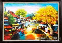 Tranh sơn dầu phố cổ hàng quán vỉa hè TSD 417