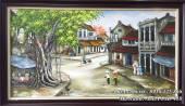 Tranh sơn dầu khổ lớn phố cổ Hà Nội quán nước vỉa hè TSD 418