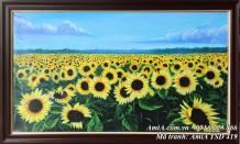 Tranh phong cảnh sơn dầu đồng hoa hướng dương TSD 419