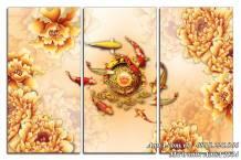 Tranh cá chép và hoa mẫu đơn vàng phú quý ý nghĩa AmiA 1534