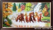 Tranh mã đáo thành công 8 chú ngựa phi trên sông nước TSD 426