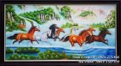 Tranh ngựa phi trên sông nước vẽ sơn dầu TSD 430