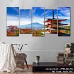 Tranh Nhật Bản phong cảnh núi Phú Sỹ và Chùa Chureito AmiA 1547