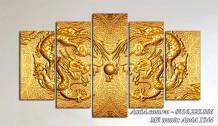 Tranh rồng vàng ghép bộ 5 tấm treo tường AmiA 1544