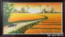 Tranh sơn dầu làng quê Việt Nam mùa lúa AmiA TSD 195