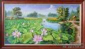 Tranh sơn dầu phong cảnh Hồ Sen ở làng quê TSD 432