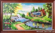 Tranh sơn dầu phong cảnh cuộc sống thanh bình TSD 123
