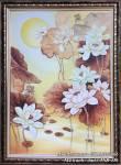 Tranh vẽ hoa Sen nghệ thuật bằng sơn dầu khổ đứng TSD 436