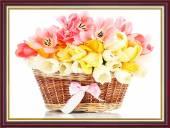 Tranh khung treo tường khổ nhỏ: Giỏ hoa Tulip AmiA 2039
