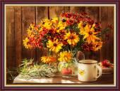 Tranh khung treo tường khổ nhỏ: Bình hoa Dã Quỳ Amia 2040