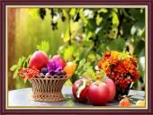 Tranh khung treo tường bàn ăn khổ nhỏ: Hoa quả trái cây AmiA 2041