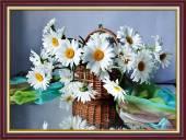 Tranh giỏ hoa cúc họa mi trắng treo tường khổ nhỏ AmiA 2044