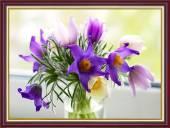 Tranh khung treo tường khổ nhỏ: Bình hoa dại tím AmiA 2045