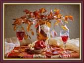 Tranh khổ nhỏ bình hoa trái cây rượu vang màu cánh gián AmiA 2047